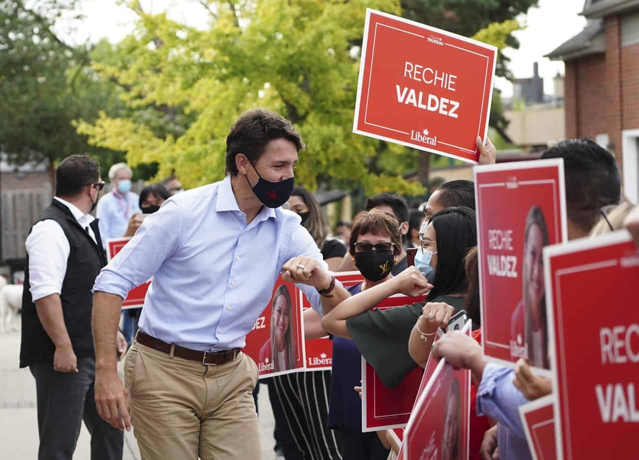 Trudeau elbows supporters