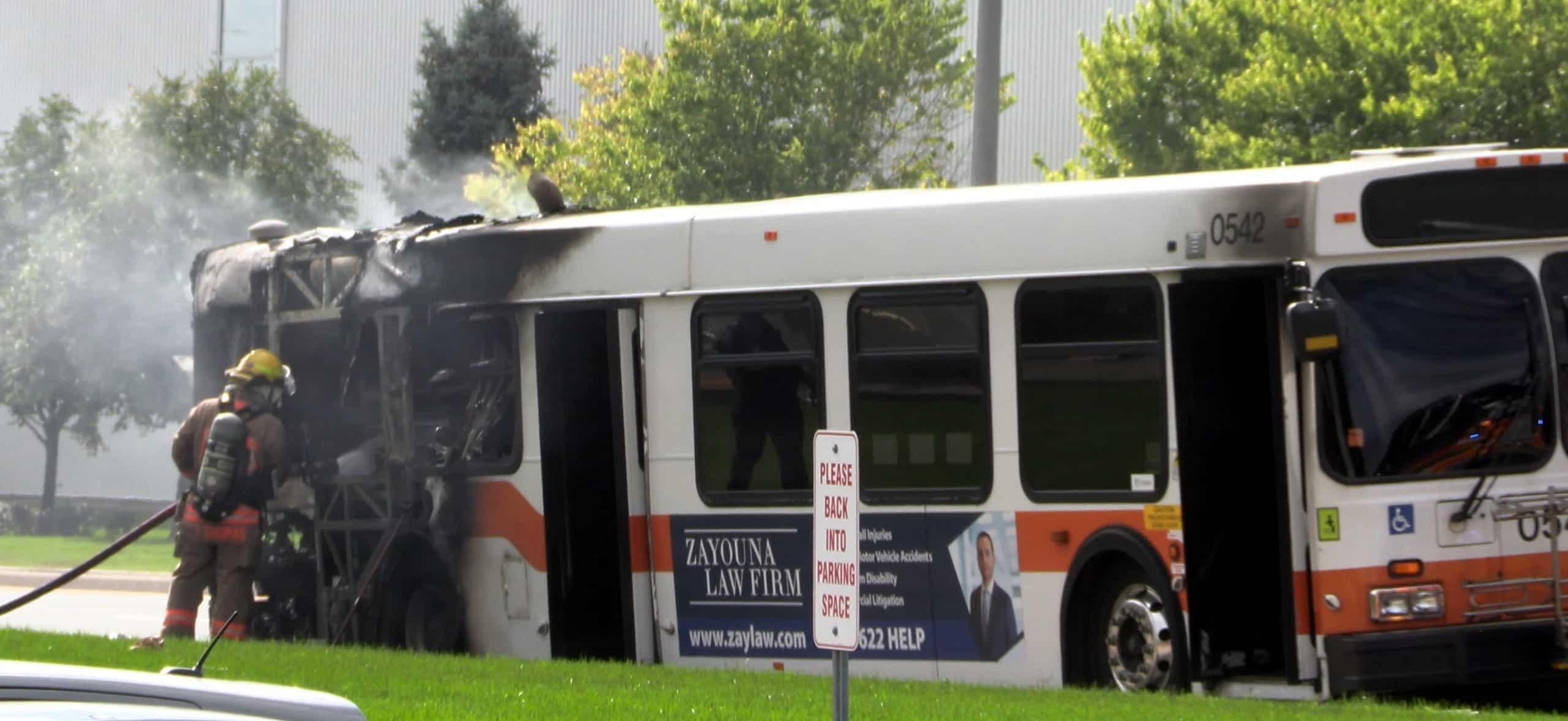 Mississauga Transit Bus Fire