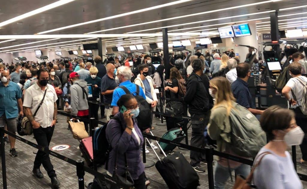Pearson Airport in Mississauga crowd