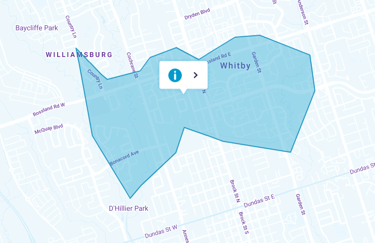 Map of Whitby Power Outage